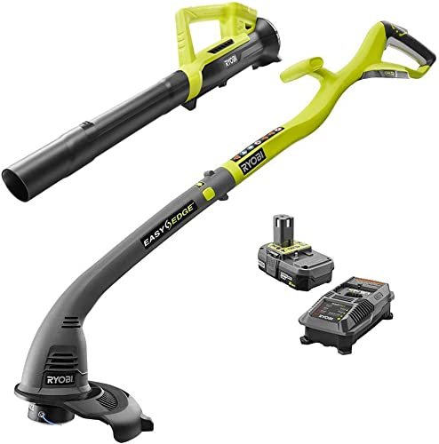 Ryobi One ONE 18-Volt Lithium-Ion String Trimmer Edger and Blower Combo Kit 2.0 Ah Battery and Charger Included