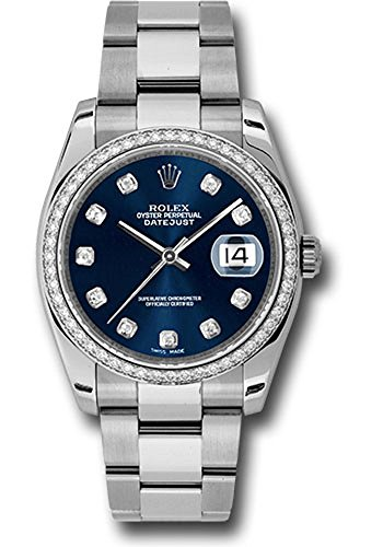 Rolex Datejust 36mm Stainless Steel case, 18K White Gold Bezel Set with 52 Brilliant-Cut Diamonds, Blue dial, Diamond Hour Markers, and Stainless Steel Oyster Bracelet.