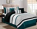 Oversized King Bed in a Bag Set JBFF 7 Piece Oversize Luxury Stripe Bed in Bag Microfiber Comforter Set, Teal, Cal King