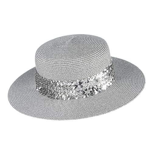 GEMVIE Women Straw Boater Hat Vintage Braided Straw Fedora Skimmer Flat Top Beach Sun Cap Silver (Prada Woven Band)