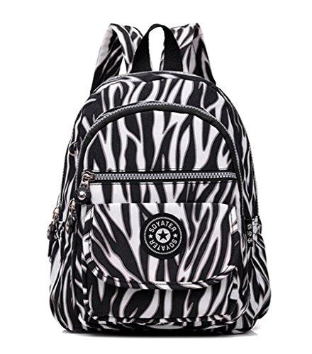 Kecartu Girls Lightweight Waterproof Nylon Backpack Durable Small Travel Daypack Zebra