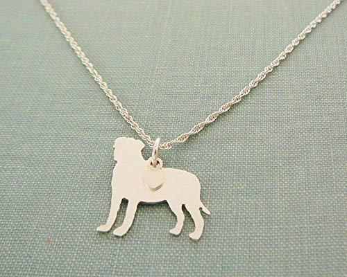 Mastiff Jewelry - .925 Sterling Silver Bullmastiff Dog charm Necklace Bull Mastiff Pet memorial silhouette jewelry