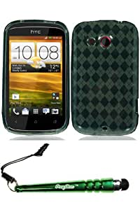 HTC Desire C Crystal Skin Smoke Case Cover Protector Include FoxyCase Stylus cas couverture