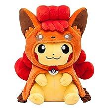 Pokemon Center Original Plush Doll Pikachu wearing a poncho of Vulpix / Goupix (Pokemon Sun Moon)