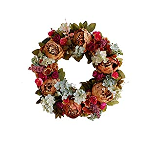 Yokoke Peony Wreath Rose Floral Twig Wreath 16 Inch Handmade Vintage Artificial Flowers Garland Front Door Wreath Beautiful Silk For Spring And Summer Wreath Display 3