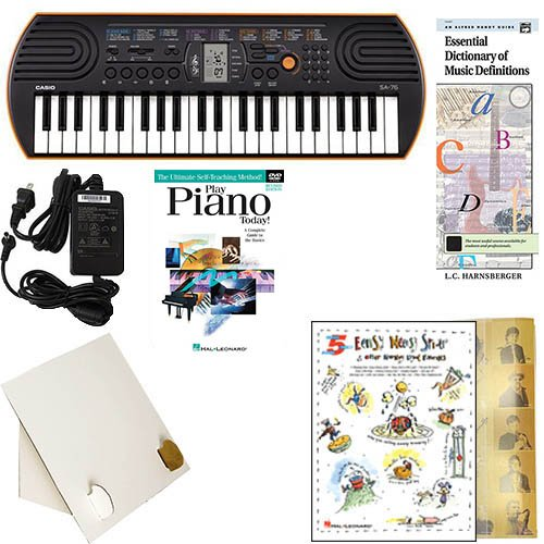 Homeschool Music - Learn to Play the Piano Pack (Nursery Rhyme Favorites Bundle) - Includes Casio SA76 Keyboard w/Adapter, learn 2 Play DVD/Book, Books & All Inclusive Learning Essentials (Pack Rhymes)