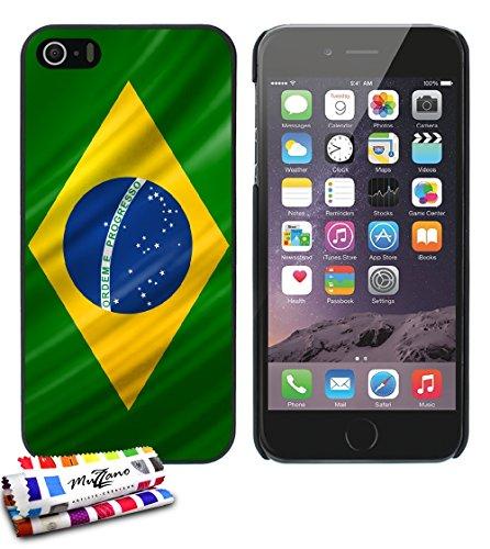 Ultraflache weiche Schutzhülle APPLE IPHONE 5S / IPHONE SE [Brasilien Flagge] [Schwarz] von MUZZANO + STIFT und MICROFASERTUCH MUZZANO® GRATIS - Das ULTIMATIVE, ELEGANTE UND LANGLEBIGE Schutz-Case für