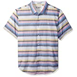 Original Penguin Men's Short Sleeve Stretch Lawn Stripe Shirt, French Blue, Large