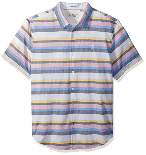 Original Penguin Men's Short Sleeve Stretch Lawn Stripe Shirt, French Blue, (Cotton Lawn Short Sleeve Shirts)