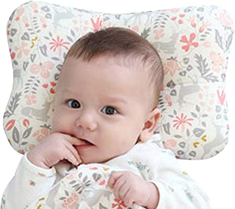 Baby Pillow for Newborn Breathable 3 Dimentional Air Mesh Organic Cotton, Protection for Flat Head Syndrome (Bambi Pink)