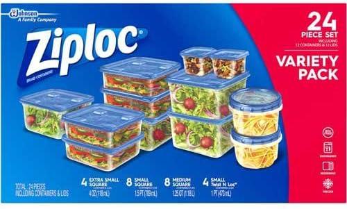 Ziploc contenedores Variety Pack, 24 Count por paquete – -4 por caso.: Amazon.es: Hogar