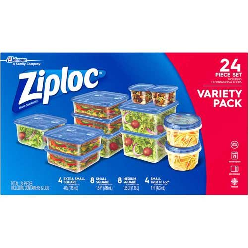 Ziploc Containers Variety Pack, 24 count per pack -- 4 per c