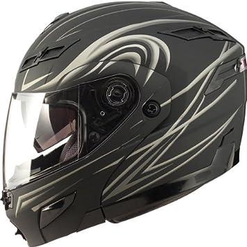 GMAX gm54s Hombres Calle De La Motocicleta Casco Modular – Derk soporte de negro/plata