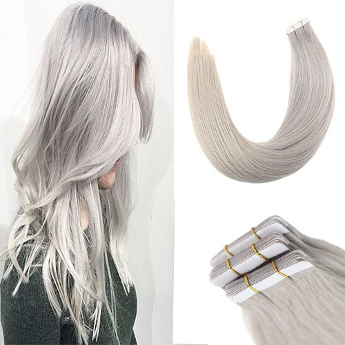 Sunny Grey Hair Extensions Real Tape in Human Hair 20inch Remy Seamless Grey Tape Hair Extensions 20pcs 50g ()