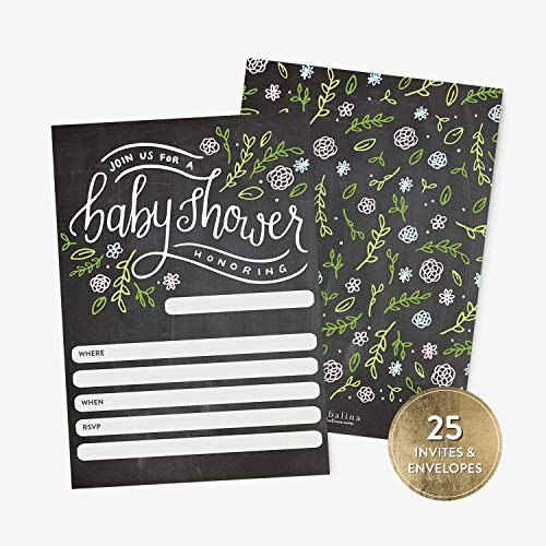 (25 Baby Shower Invitations with Envelopes, Floral Handlettered Chalkboard Baby Boy or Girl Shower Fill-in Invitation, Gender Neutral Baby Boy Shower Invitations)