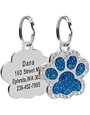 Didog Glitter Rhinestone Paw Print Custom Pet ID Tags,Crystal Stainless Steel Personalized Engrave ID Tags Fit Small Medium Large Dogs and Cats