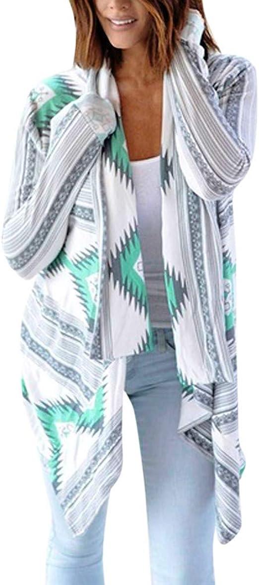 Women Long Sleeve Shawl Cardigan Striped Kimono Knitwear Loose Casual Tops New