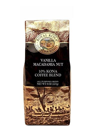 Majestic Kona Vanilla Macadamia Nut 10% Kona Flavored Coffee (Ground, Light Medium Roast, 10% Kona Coffee Blend, 8oz Bag)