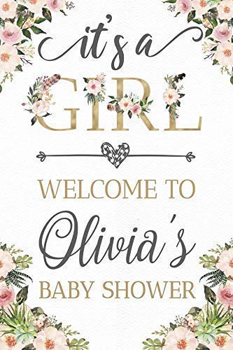 Floral Boho Baby Shower Sign, Baby Shower Props, Boho Chic Decor, Its a girl, Baby Welcome Sign, Flower Baby Shower Decorations, Personalized banner, Handmade Party Supplies Size- 36x24, 18x24