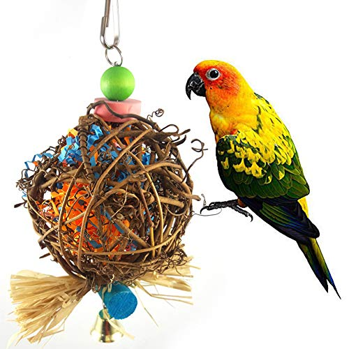 - bromrefulgenc Parrot Bite Toy,Small Parrot Chewing Toy Rattan Ball with Paper Strips for Budgie Parakeet Bird - Random Color