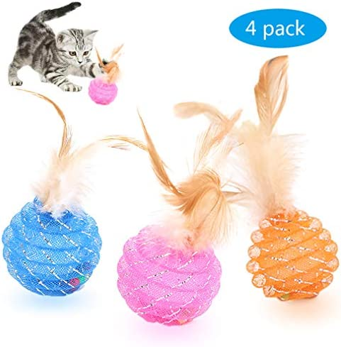 Fun Meows Interactive Cat Ball Toys with Feather,The Best Brightly Colored Cat Toys with Bells,Health Sport for Your Cat.Hour of Entertainment,Safe for Your Kitty,Pack of 4 2