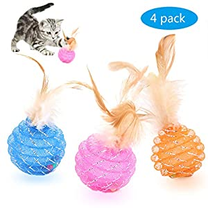 Fun Meows Interactive Cat Ball Toys with Feather,The Best Brightly Colored Cat Toys with Bells,Health Sport for Your Cat.Hour of Entertainment,Safe for Your Kitty,Pack of 4 6