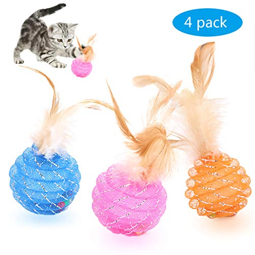 Fun Meows Interactive Cat Ball Toys with Feather,The Best Brightly Colored Cat Toys with Bells,Health Sport for Your Cat.Hour of Entertainment,Safe for Your Kitty,Pack of 4