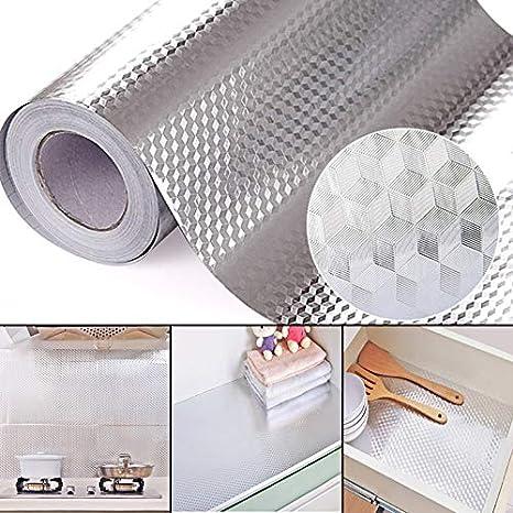 Wandofo Waterproof Oil Proof Aluminum Foil Sticker Self Adhesive Wallpaper Kitchen Stove Wall Stickers 61Cmx500Cm