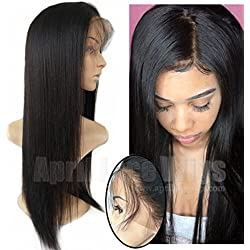 [April lace wigs]Brazilian virgin light yaki 150% density 360 frontal Pre Plucked Bleached Knots human hair lace wigs with baby hair natural hairline for black women,with straps and combs (14 inches)