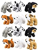 4Es Novelty Stuffed Plush Soft Dogs Animals Puppies Bulk Party Favor, Large Stuffed Animals Assortment, 6 inches, Pack of 12, 2 of Each Style, By
