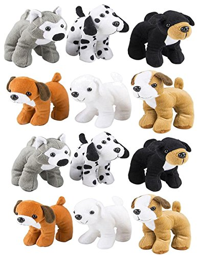 Review Stuffed Plush Soft Dogs Animals Puppies Bulk Party Favor, Large Stuffed Animals Assortment, 6 inches, Pack of 12, 2 of Each Style, By 4E's Novelty