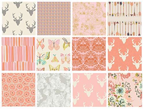Girl's Woodland Nursery Quilt Fabrics | Hello Bear Fabric Bundle | Deer Head Fabric | Pink and Gray Quilt Bundle with Butterflies | Art Gallery Fabrics (Fat - Fabrics Nursery