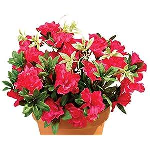 "OakRidge Silk Azalea Bush - Artificial Flowers Outdoor Décor - Dark Pink, 17"" High 12"
