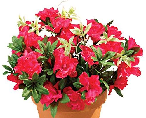 "OakRidge Silk Azalea Bush – Artificial Flowers Outdoor Décor – Dark Pink, 17"" ()"