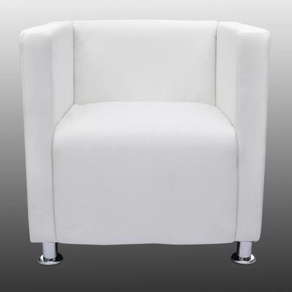vidaXL Sillón Moderno Diseño de Cubo de Cuero Artificial ...