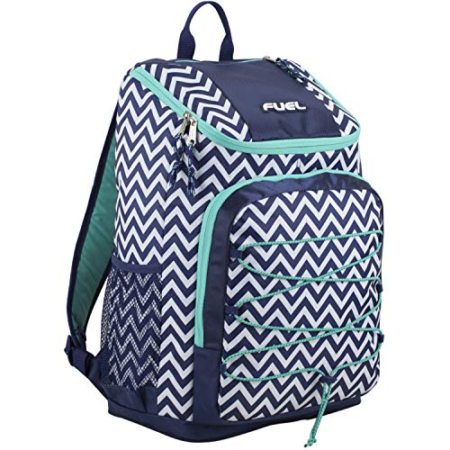 Fuel Wide Mouth Sports Backpack with Front Bungee and Inner Tech Pocket, Deep Cobult Blue/White Chevron Print/Turquoise Trim ()