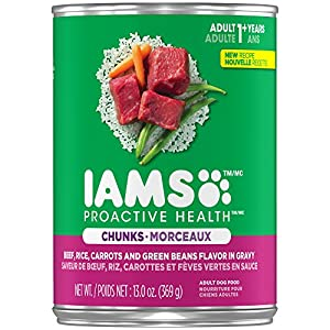 Iams Proactive Health Adult Beef, Rice, Carrots And Green Beans Flavor Chunks In Gravy Wet Dog Food 13.0 Ounces (Pack Of 12)