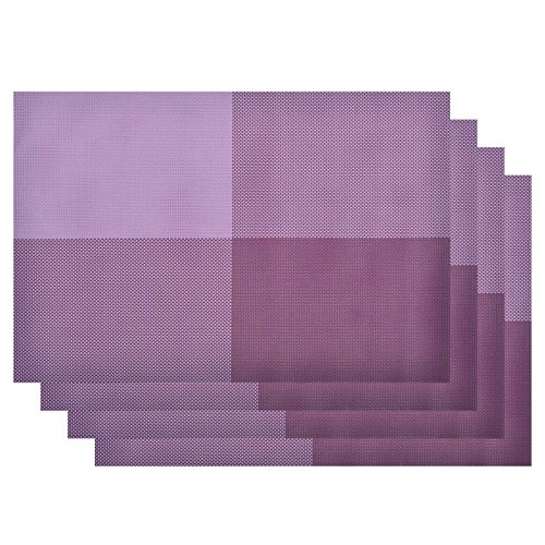 VEEYOO Woven Vinyl Non-slip Insulation Heat Stain Resistant Washable Big Cross Table Placemats Kitchen Dining Table Top Meal Mat Place Mats,PVC,Set of 4,Purple