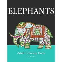 Elephants: Adult Coloring Book