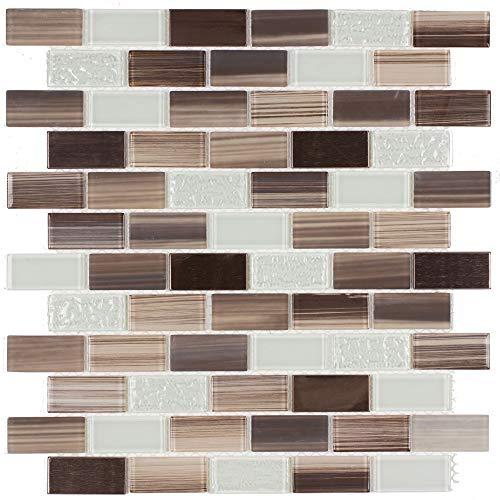 Light Green Glass Tile - MTO0253 | Classic Brick Brown Light Green Glass Metal Mosaic Tile