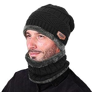 Vbiger Winter Beanie Hat Scarf Set Warm Knit Hat Thick Knit Skull Cap for Men Women