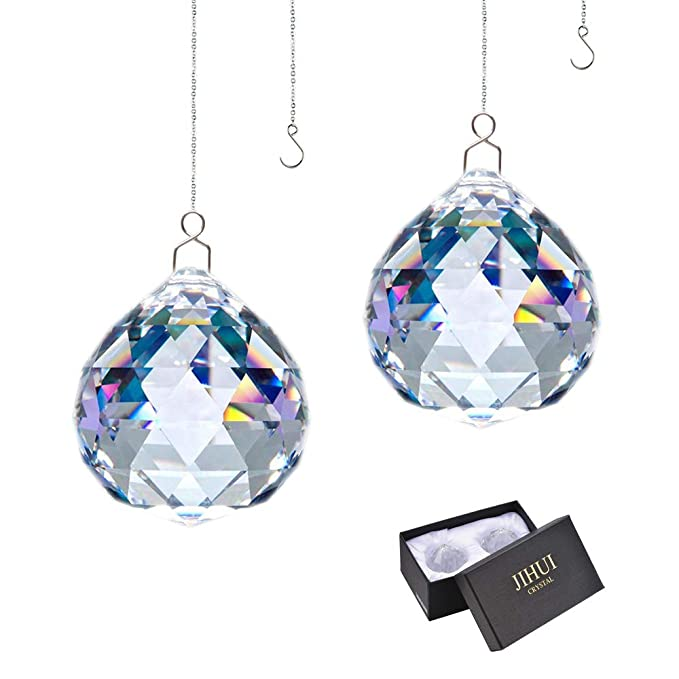 JIHUI Suncatcher Crystals Ball Prism Window Rainbow Maker with Chain for Easy Hanging 40mm 2 Pack