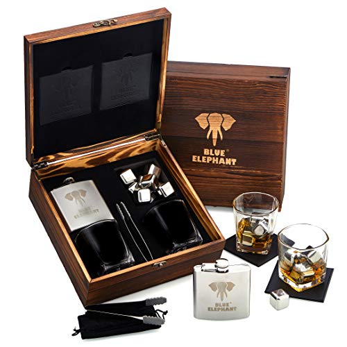 Premium Whiskey Stones Gift Set for Men, 8 Chilling Stones, 2 Whisky Glasses, 1 Hip Flask, Tongs, and 2 Coasters in Elegant Gift Box, Luxury Set in Real Pine Wood Box