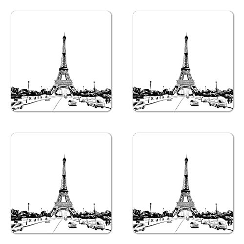 Lunarable Sketchy Coaster Set of 4, Eiffel Tower View from Road European Popular Sign Paris Monumental Landmark Image, Square Hardboard Gloss Coasters, Standard Size, White Black (Best Restaurants In Paris With A View)