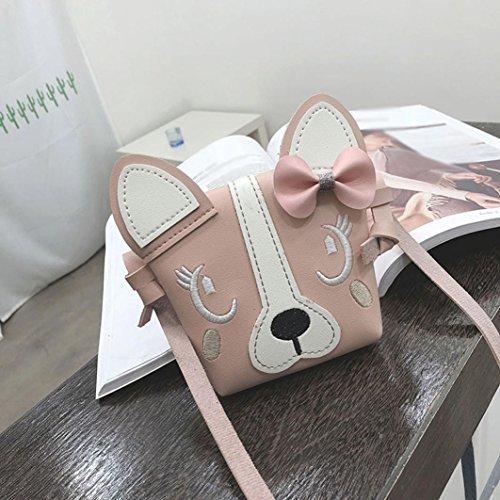 Embroidered Quilted Backpack - YJYDADA Children Cute Animal Bowknotl Leather Handbag Shoulder Bag Mini Crossbody Bag (Pink)