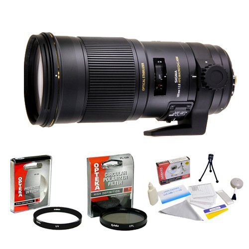 Sigma 180mm f/2.8 APO Macro EX DG OS HSM Lens for Nikon + Opteka UV Filter + Opteka CPL Filter + Opteka 5 Piece Cleaning Kit