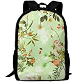 OIlXKV Floral Motifs Print Custom Casual School Bag Backpack Multipurpose Travel Daypack For Adult