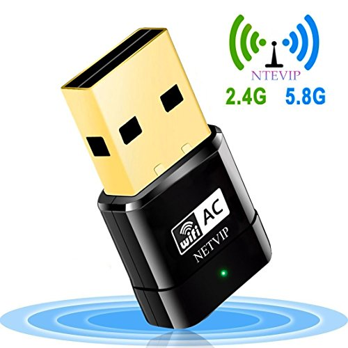 USB WiFi Adapter 600Mbps Wireless Network Card Dual Band 2.4G/5.8G WlAN Card with WPS Button for Desktop/Laptop/PC,Perfect for Windows XP/Vista/7/8/10 Linux 2.6x,Mac OS X by NETVIP
