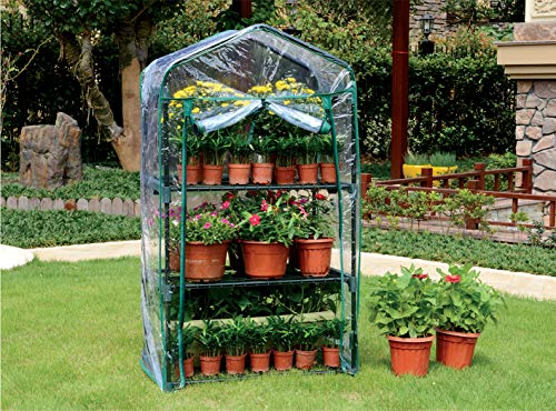 WZTO 3-Tier Mini Greenhouse, Portable Mini Garden House with Warm Clear PVC Cover for Indoor/Outdoor Growing Seeds & Seedlings, Tending Potted Plants Flower Zipper Roll Up Front by WZTO (Image #1)