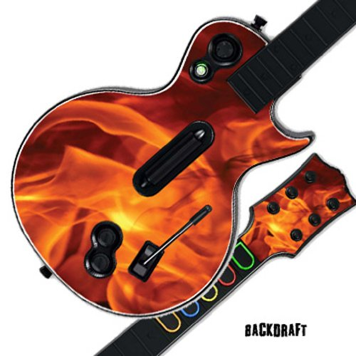 Guitar Faceplates (Mightyskins Protective Skin Decal Cover Sticker for GUITAR HERO 3 III PS3 Xbox 360 Les Paul - Back Draft)